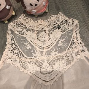 Forever 21 Sleeveless sheer  Lace Top Ivory